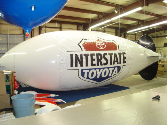 30 feet long advertising blimp with Toyota logo